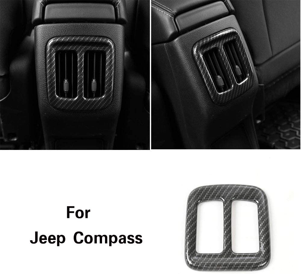 Carbon Fiber Grain CheroCar Car Interior Dashboard Air Conditioner Vent Trim for Jeep Compass 2017 2018