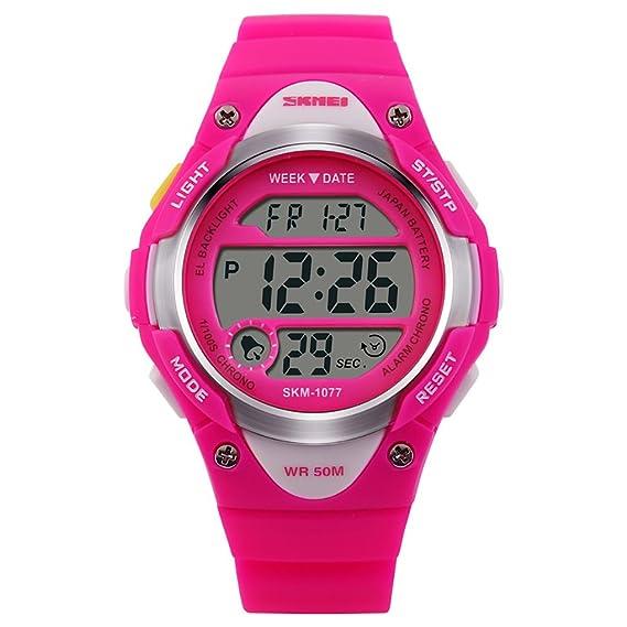 Niños reloj deportivo, impermeable LED Digital relojes con alarma luz de fondo Cronómetro para niños