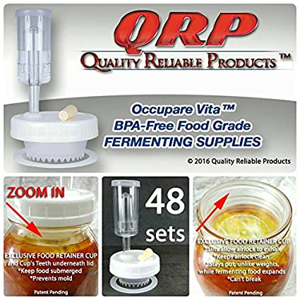 6 QRP No Messy Overflow No Weights Needed Mold-Proof Mason Jar Fermentation Kits with Exclusive Food Retainer Cups keep food submerged in brine (3 REGULAR MOUTH & 3 WIDE MOUTH KITS) Quality Reliable Products