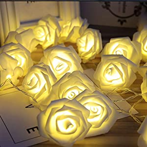 SOLENSIS String Lights Battery Operated Indoor and Outdoor with LED Light- White Roses with Warm Lighting (x20) - Length 9ft/3m - Perfect Home Decoration for Bedroom, Party, Event, Wedding, Christmas