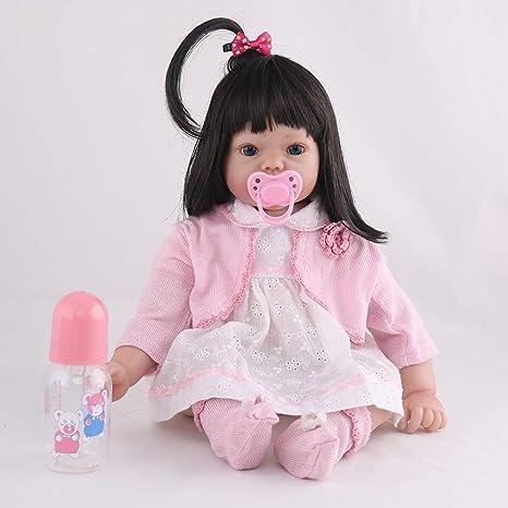 Amazon.com: Muñeca reborn niñas ojos abiertos 19,7 pulgadas ...