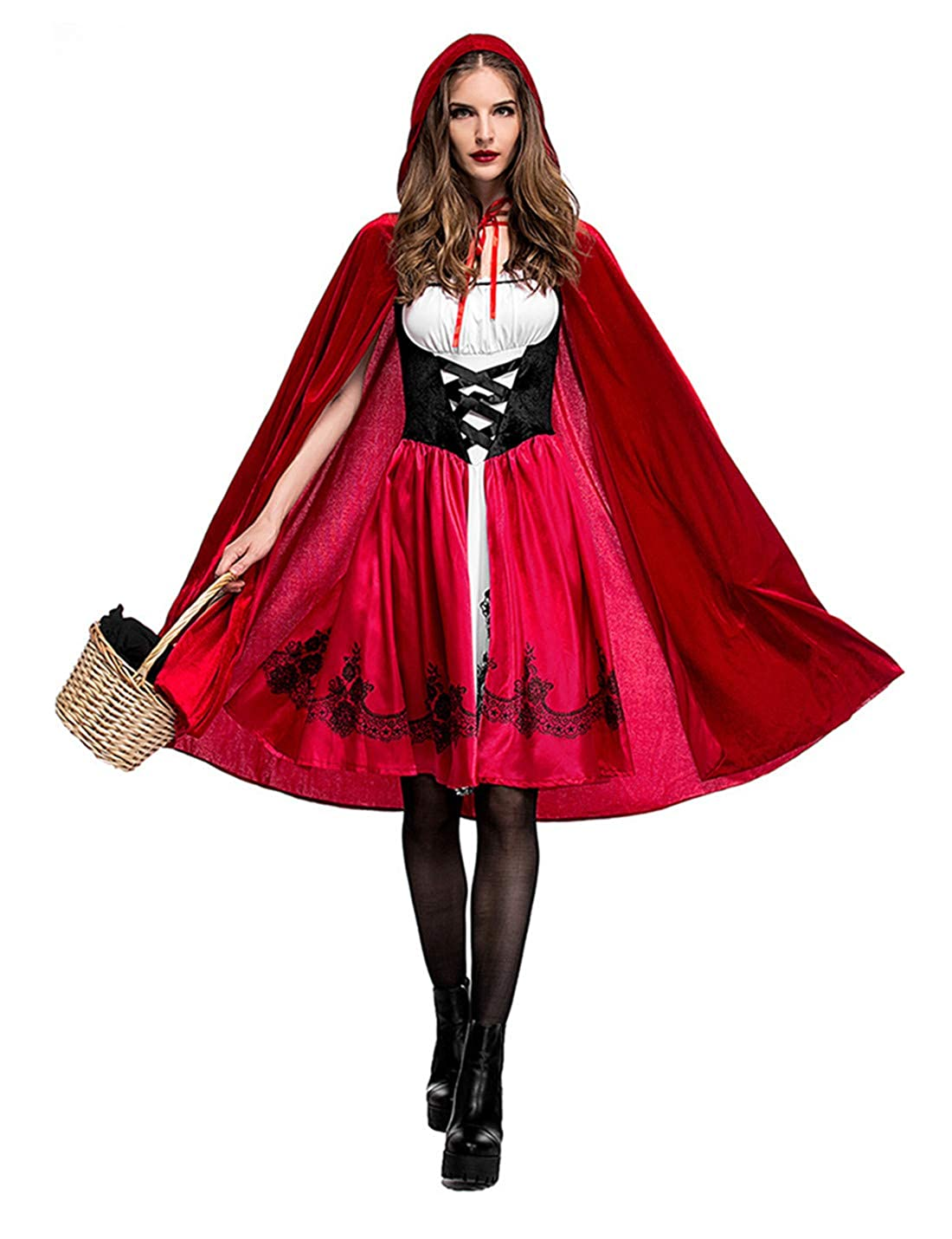 Flovey Women's Little Red Riding Hood Costume Halloween Cosplay Party Dress with Cape