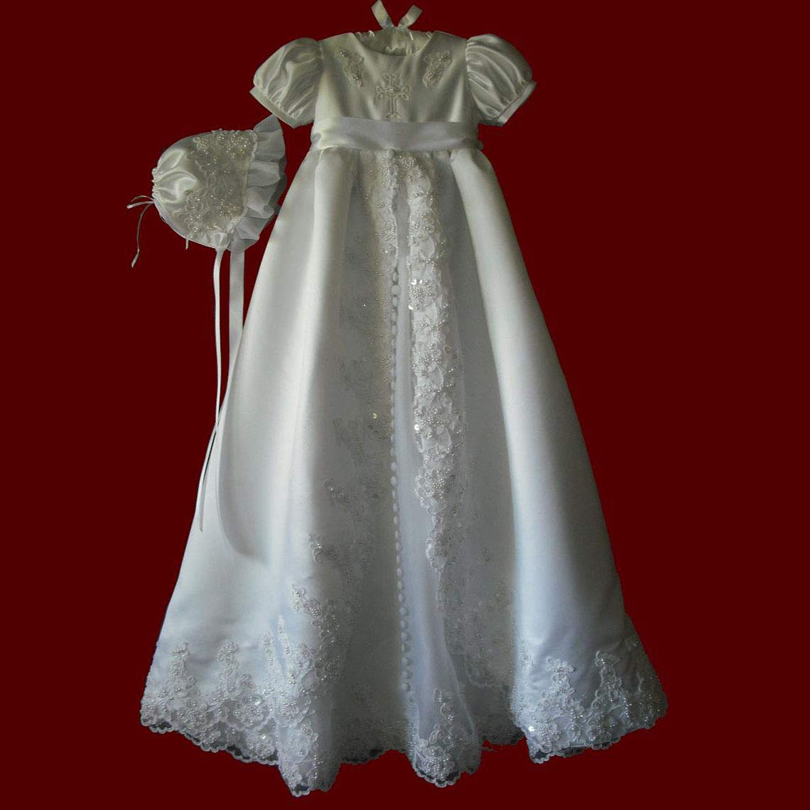 Faithclover Christening Dresses for Baby Girls Long Lace Beaded Baptism Gowns Toddler with Bonnet
