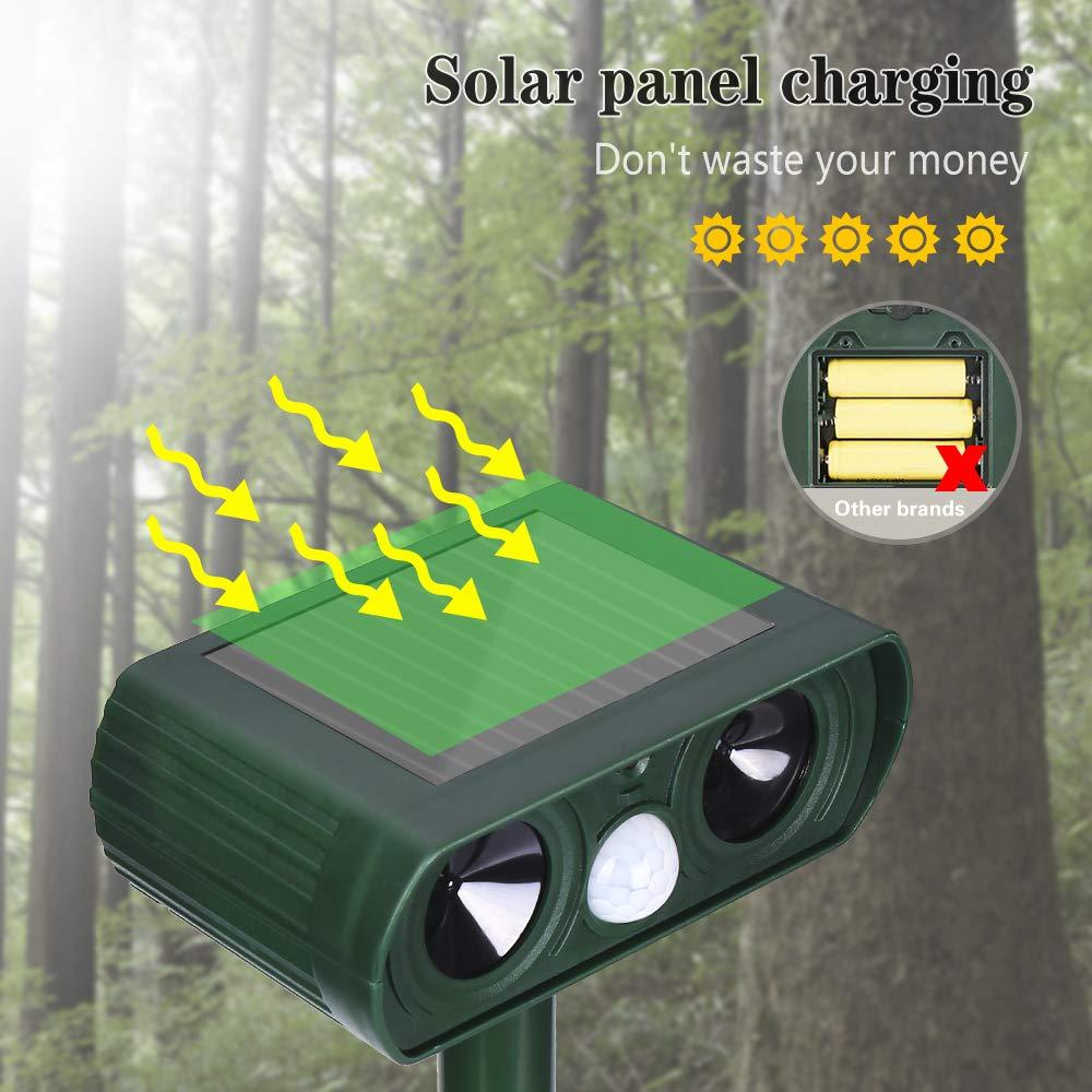 Repelente Ultras/ónico de Animales Repelente para Animales con Bater/ía Solar Impermeable Sensor de Movimiento Uso en Exteriores Vegkey Repelente para Gatos Tierra de Jardin y de Animales