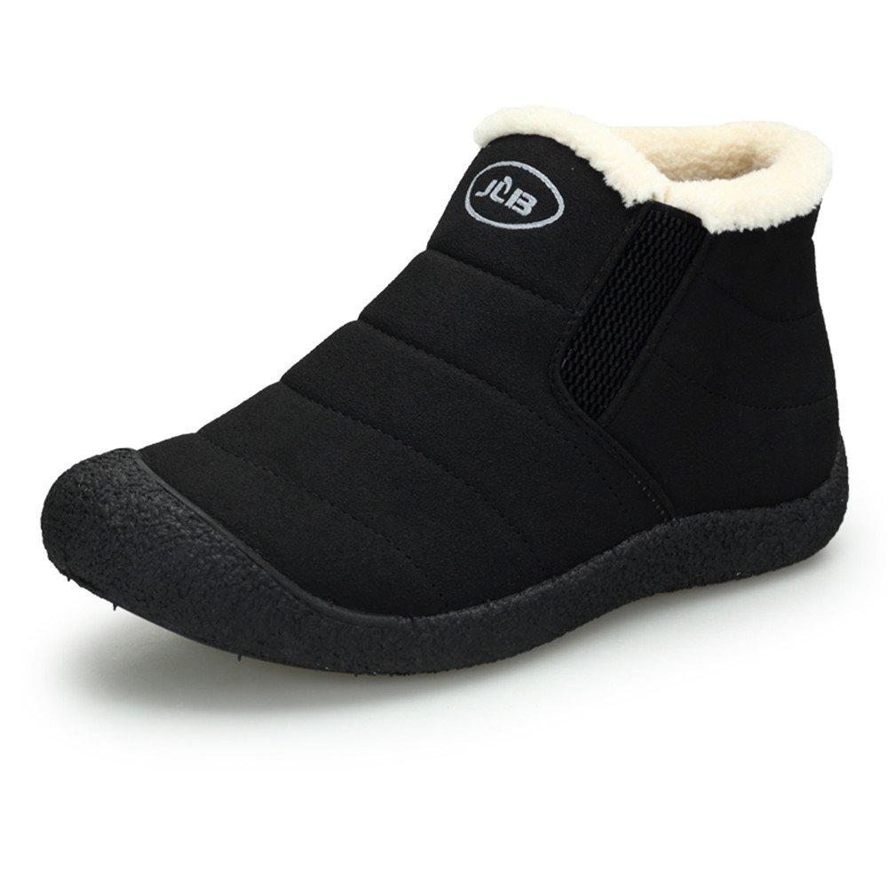 Cooga Women's Waterproof Flat Snow Boots Plus Velvet Winter Lace Up Cotton Platform Sneaker Shoes Black 8 B(M)