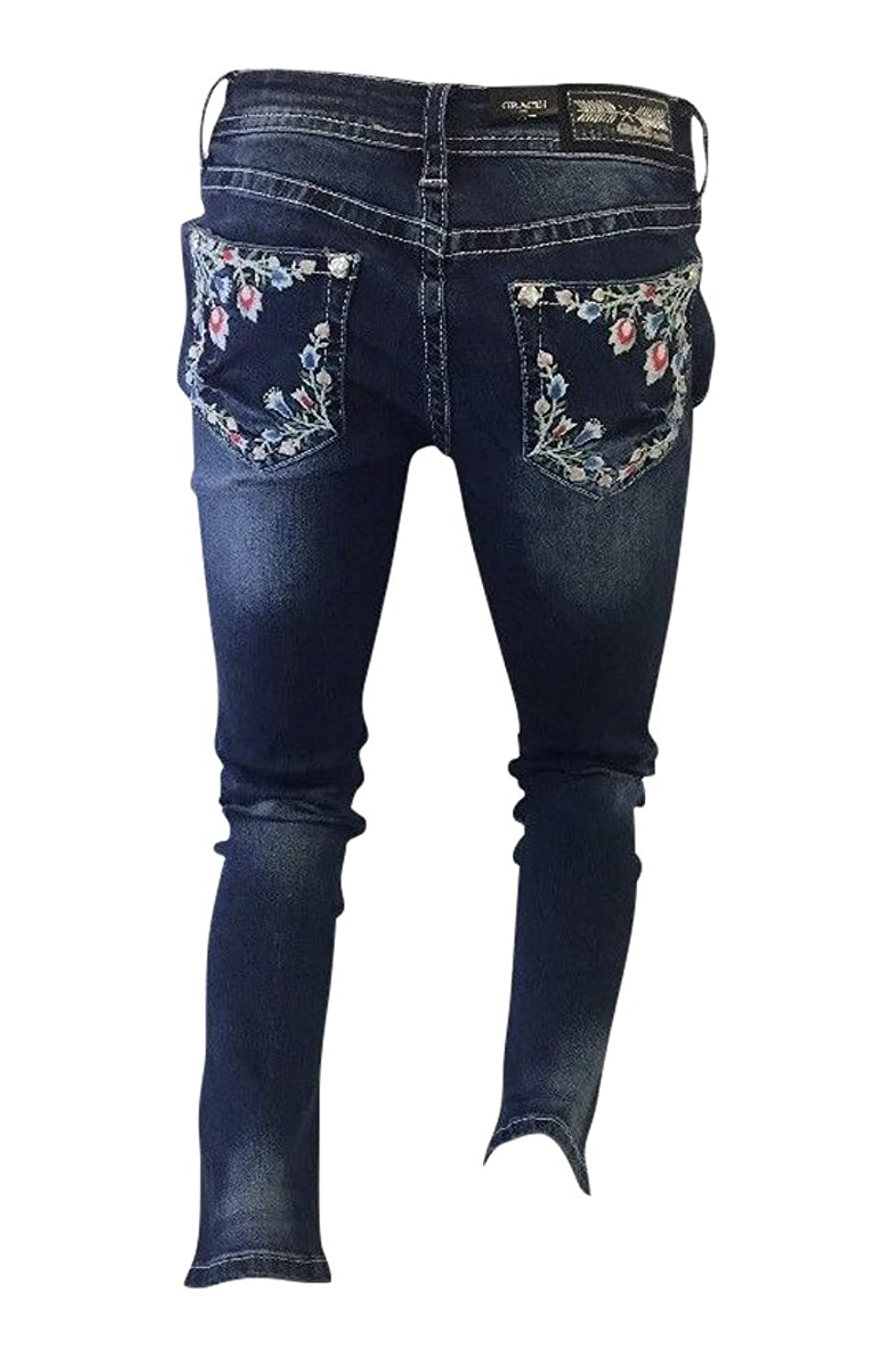 Flash Apparel Women's Grace In LA Jeans Blue Denim colorful Stitching With Floral Design Skinny Leg JNW81133-30
