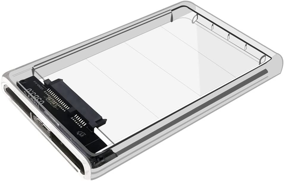"Neeyer 2.5"" Hard Drive Enclosure, USB 3.0 to SATA III Clear External HDD/SSD Enclosure - Optimized for 9.5mm 7mm 2.5"" SSD, Tool Free UASP 2TB …"