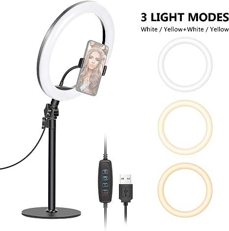 Neewer Luz Anillo LED Tapa Mesa Luz Anillo USB 26cm Temperatura de ...