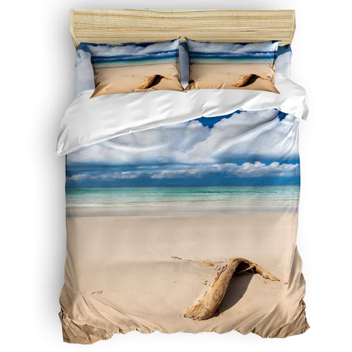 掛け布団カバー 4点セット 黒と白のレトロな世界地図 寝具カバーセット ベッド用 べッドシーツ 枕カバー 洋式 和式兼用 布団カバー 肌に優しい 羽毛布団セット 100%ポリエステル クイーン B07TF8YPMT Beach driftwoodLAS7544 クイーン