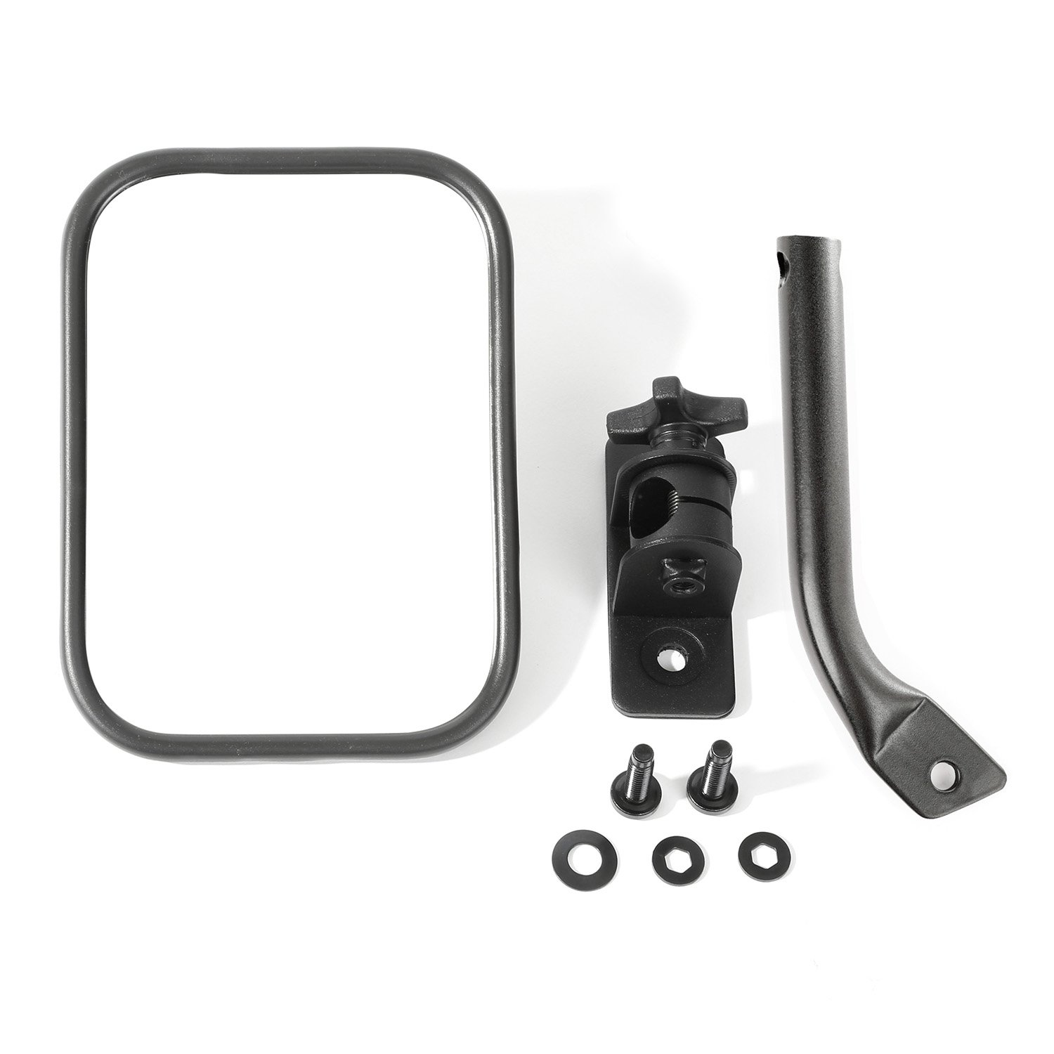 Rugged Ridge 11025.18 Textured Black Rectangular Quick Release Mirror Kit for 1997-2018 Jeep Wrangler
