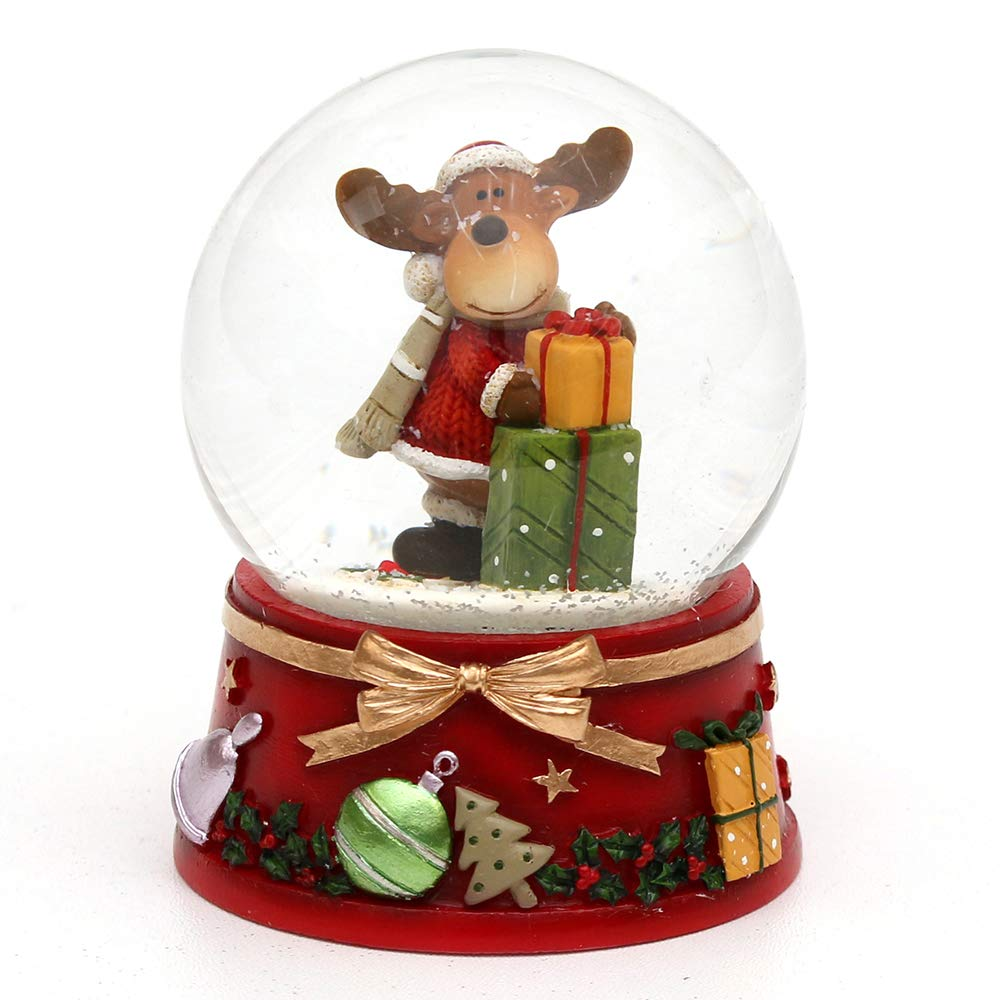 Dekohelden24 - Palla di Neve con Alce e Base Rossa, Motivo: Menu a Tendina Abete