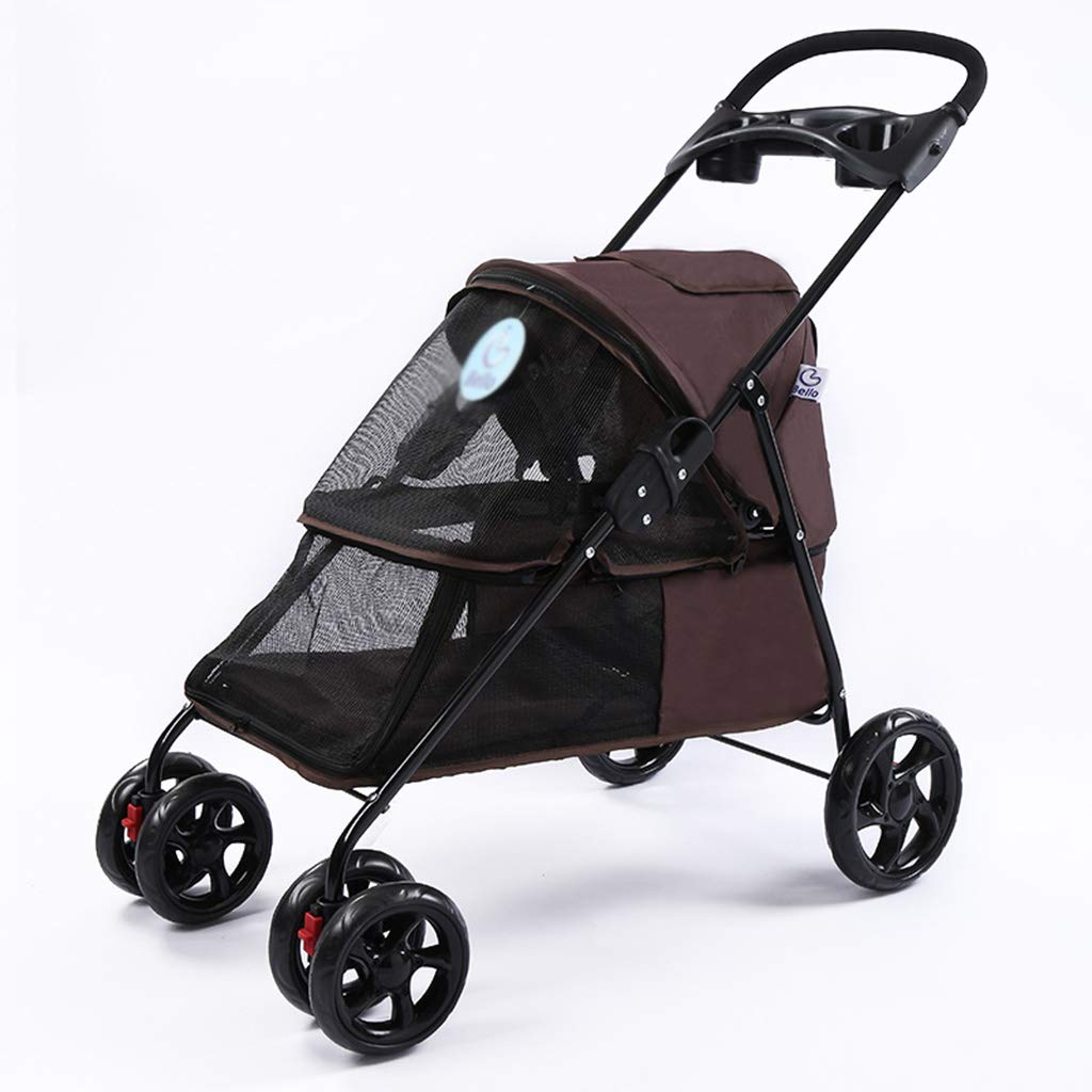 Brown Dog Cat Stroller Light Foldable Pet Trolley Small Pet Trolley Pet Safety Four Rounds Trolley Outdoor Travel Supplies Breathable Stroller Cage Stroller,Brown