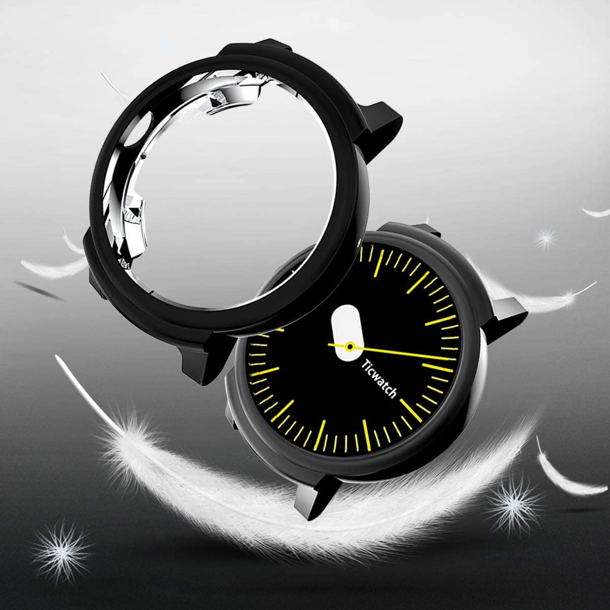 Clear Cerike Compatible for TicWatch E Case,Protective Shell Case Anti-Scratch Bumper Cover for TicWatch E Smartwatch