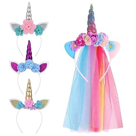 Lurrose diadema de unicornio para fiesta de cumpleaños ...