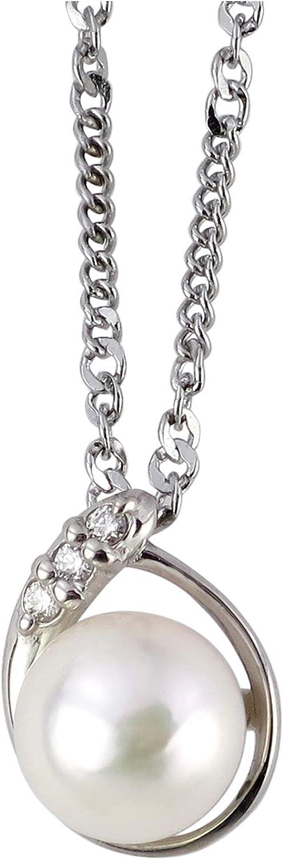 新宿銀の蔵 ダイヤモンド パール ドロップ プラチナ ネックレス (角あずきチェーン) Pt900 一粒 真珠 レディース ペンダント ステンレス