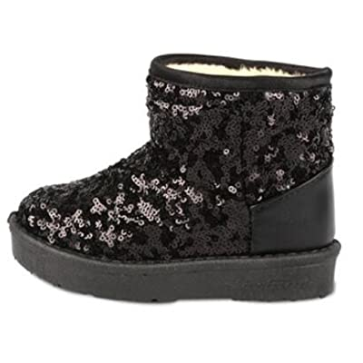 Bumud Boys Girls Glitter Sequins Fur-Lined Snow Boots Cold Weather Winter Warm Shoes