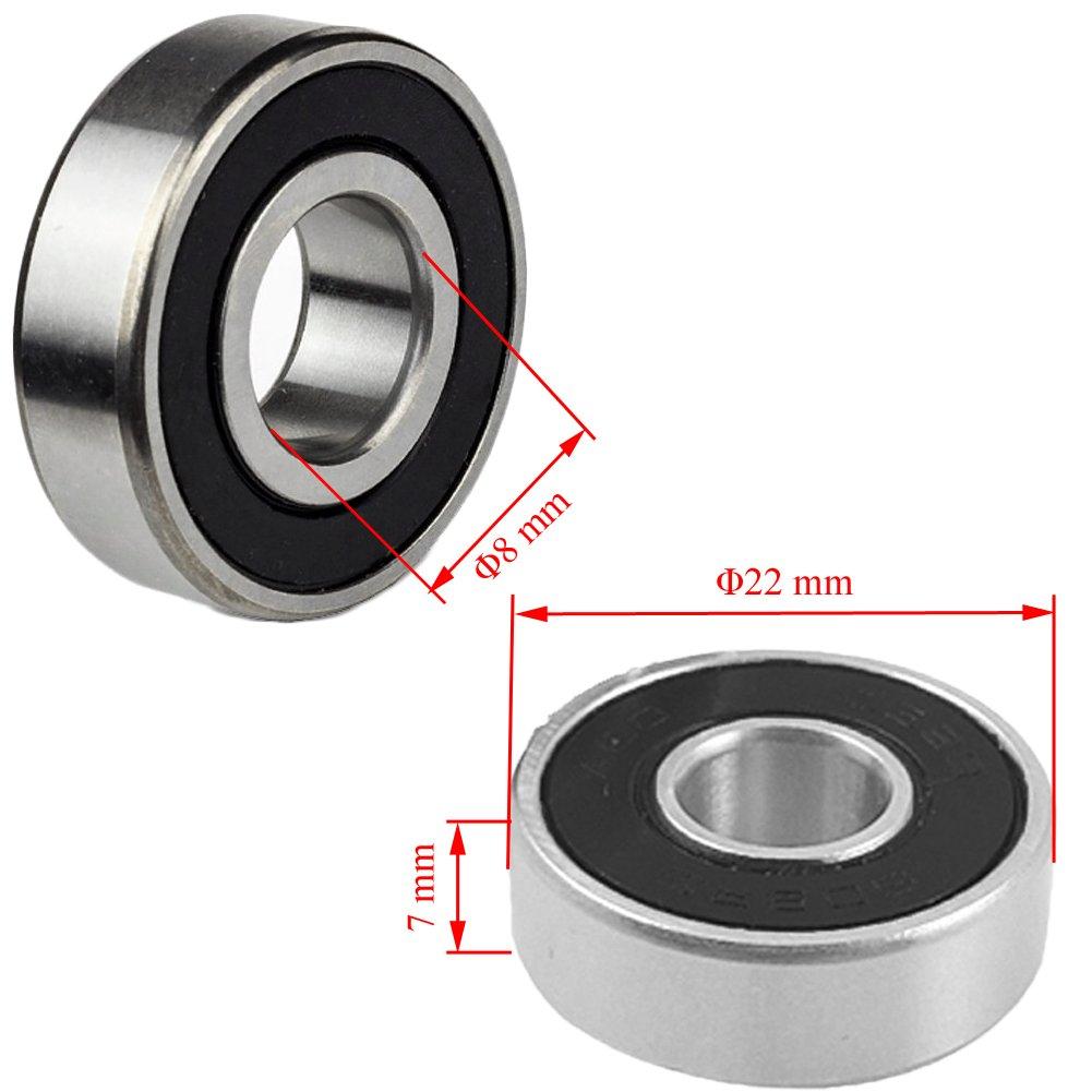 Almacenamiento de carbono Acero 6204Z Rodamientos para monopat/ín waveboard DIY mano trabajo juguete 608ZZ 8 X 22 X 7 mm 10 unidades