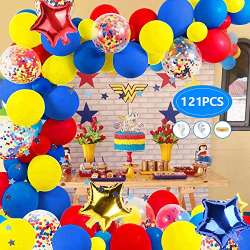 AYUQI Kit de Arco de Guirnalda de Globos de Carnaval y Circo, 121 Globos de latex Amarillo, Azul, Rojo,Globos de Confeti Multicolores para Fiestas, Bodas, Carnaval, Cumpleanos,Decoracion,Suministros