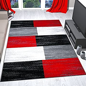 Teppich Rot Grau Schwarz Weiss Kariert Farbverlauf Kurzflor 80x150 Cm