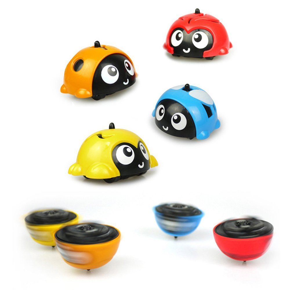 JYH 4pcs Pack Novelty Game Toy Battle Gyro Car Beyblade Burst Cute Ladybug Pull Back Car Spinning Children Gifts