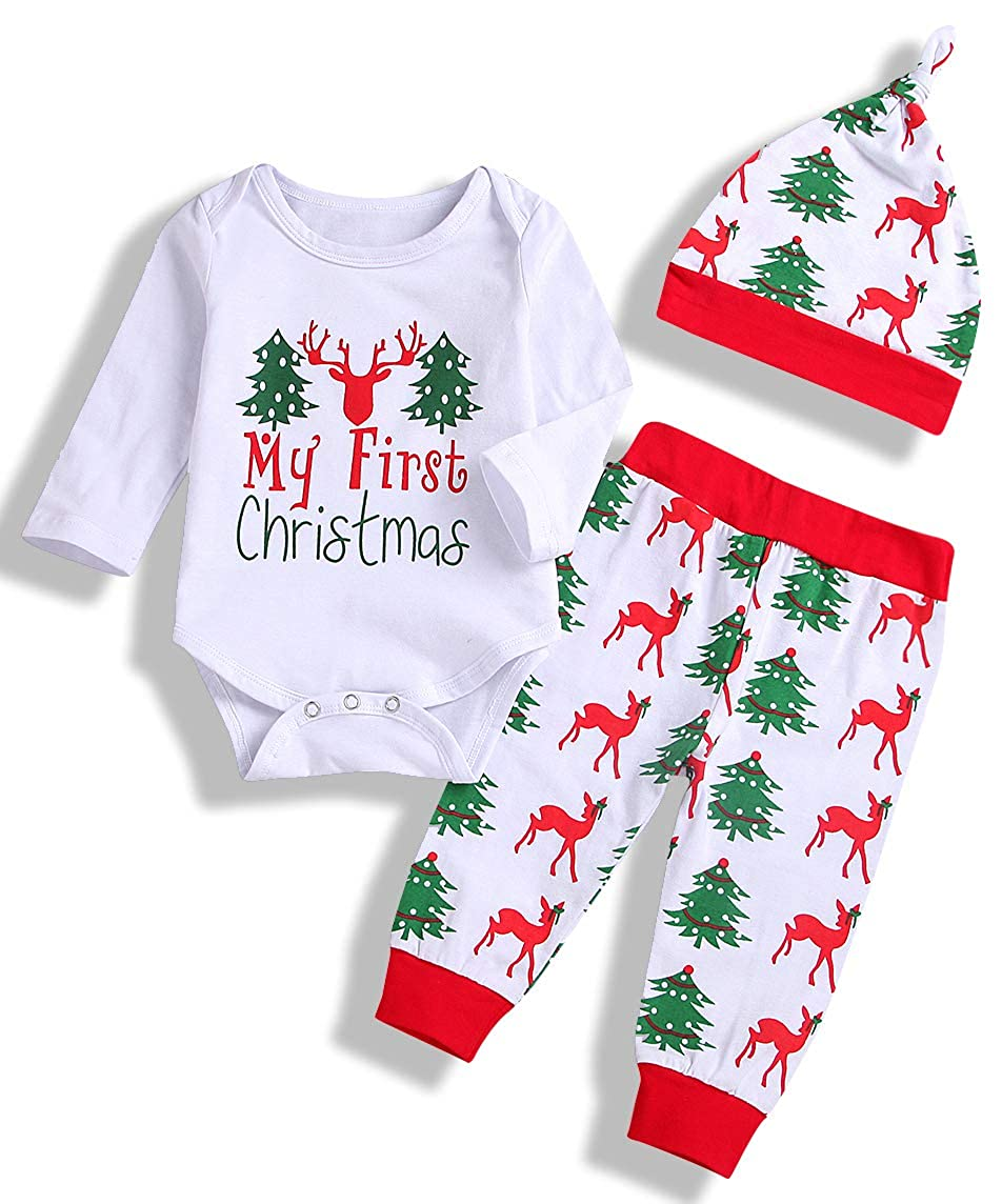 Newborn Infant Baby Boy Girl Christmas Outfits Set Little Brother Romper Long Pants Hat 3PC Clothes