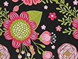 Pack Of 1, 24'' x 417' Chalkboard Flowers Floral And Kraft Gift Wrap for 175 -200 gifts Made In USA for feminine, birthday, Mother's Day / any occasion