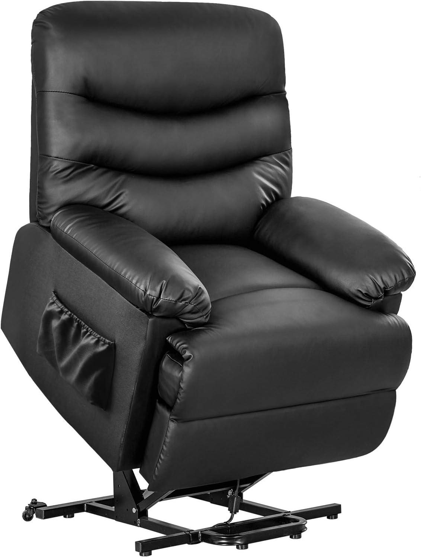 Merax Reclining Chair Lazy Boy Sofa for Elderly, Power Lift Office or Living Room, Black