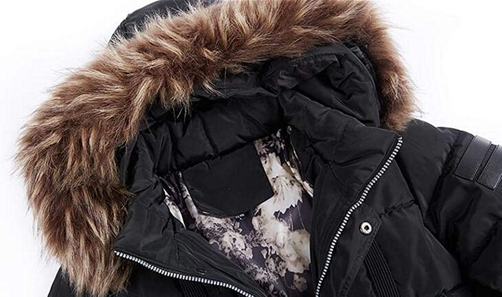 f08f86438 Black Pivaconis Men's Longline Winter Faux Fur Hooded Hooded Hooded ...