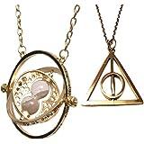 Bijoux Harry Potter. Hermione Granger or ton Horcruxe tourner retourneur de temps et d'or filer Collier Reliques de la Mort