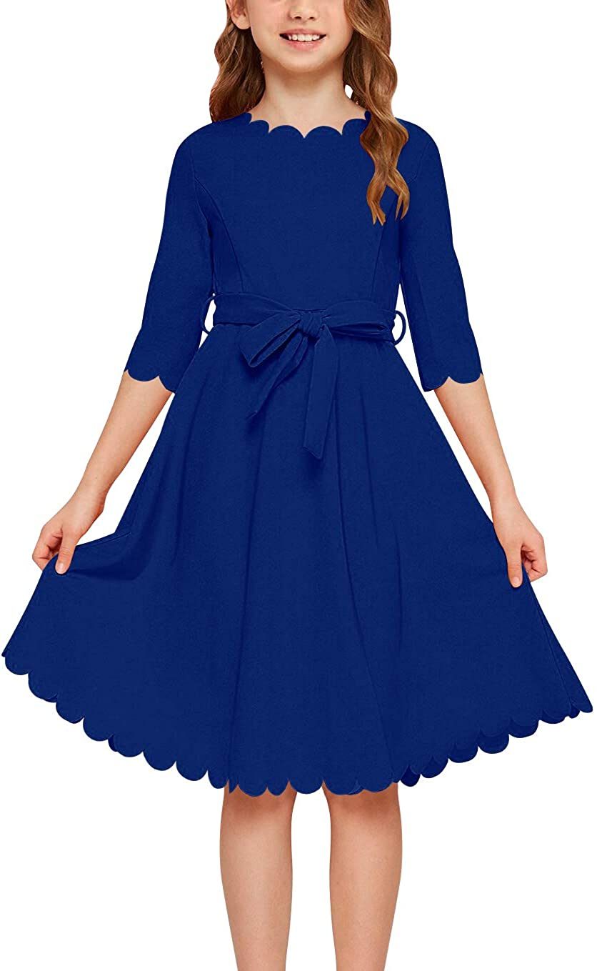 Fashion Kids Girls Sleeveless Printing Belted Skater Party Short Dress Age 3-8Y