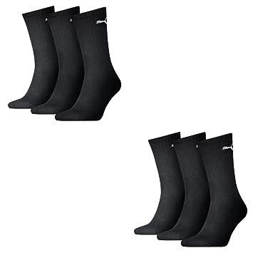 Puma - Calcetines de tenis, 6 pares, color negro, unisex, 7312,