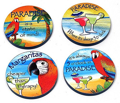 Paradise Wood Coaster 4pc Set - Kitchen Decor