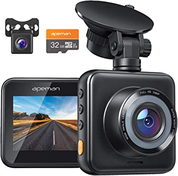 Apeman Dashcam Front And Rear Car Camera 1080p Fhd Mini Dual Lens Camera 170 Wide Angle With Night Vision G Sensor Parking Monitoring Loop Recording And Wdr Auto
