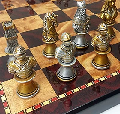 """Medieval Times Crusades Knight Chess Set Gold & Silver Busts W/ High Gloss Cherry & Burlwood Color Board 18"""""""