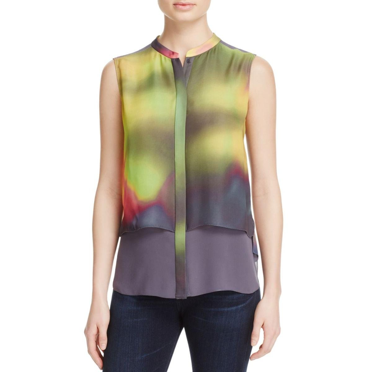 Elie Tahari Womens Eve Popover Chiffon Button-Down Top Multi L by Elie Tahari