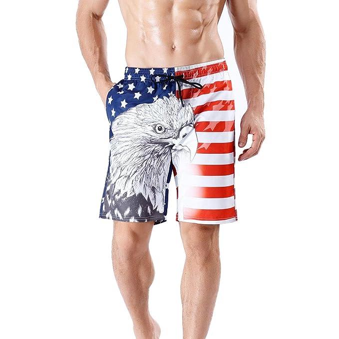 "9e3ef184d19e6e Mens Stylish Swim Trunks Quick Dry Board Shorts Tie Plus Size American Flag  with Pockets 20"""