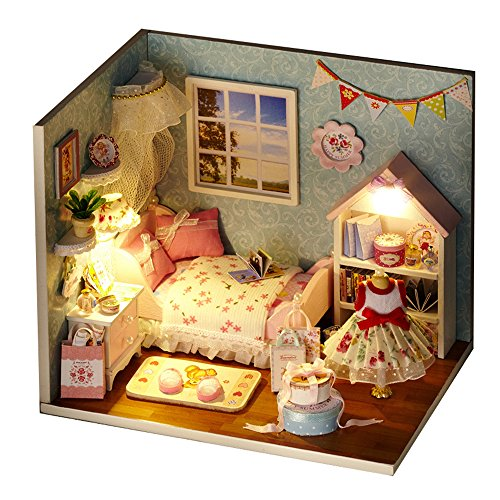 Spilay DIY Miniature Dollhouse Wooden Furniture Kit,Handmade Mini Home Model with Dust Cover & Music Box ,1:24 Scale Creative Doll House Toys for Children Gift(Happy Little World) H09