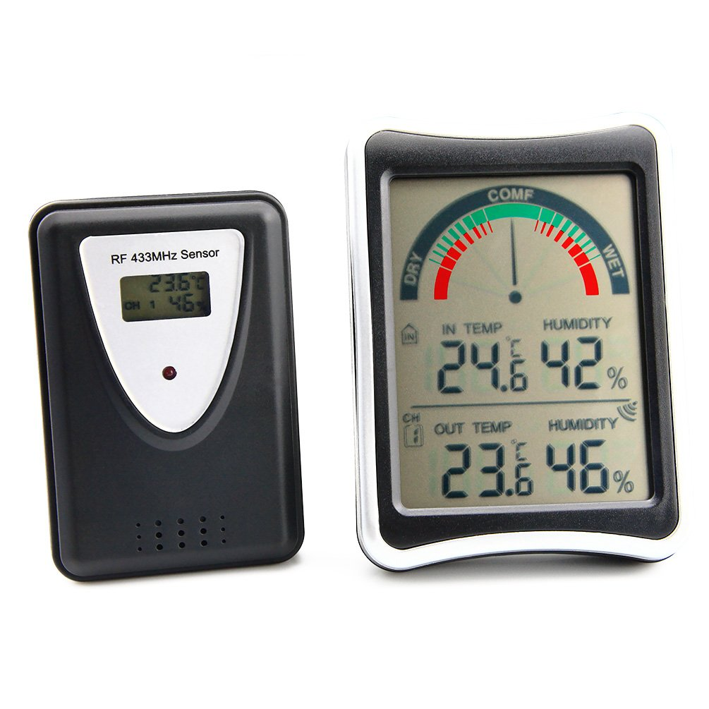 AMTAST Wireless Indoor Hygrometer Thermometer Gauge with Digital Monitor Humidity Temperature Meter by AMTAST