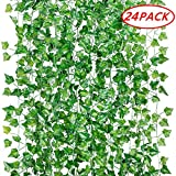 GPARK 12Pack / 24Pack Each 82 inch Artificial Ivy Garland Fake Plants Green for Wedding Party Garden Outdoor Greenery Wall Decoration