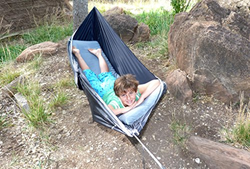 "Hammock Bliss Sky Bed - Hangs Like A Hammock, Sleeps Like A Bed - Unique Asymmetrical Design Creates An Amazingly Flat and Insulated Camping Hammock - Integrated Suspension 100"" / 250 cm Rope Per Side"