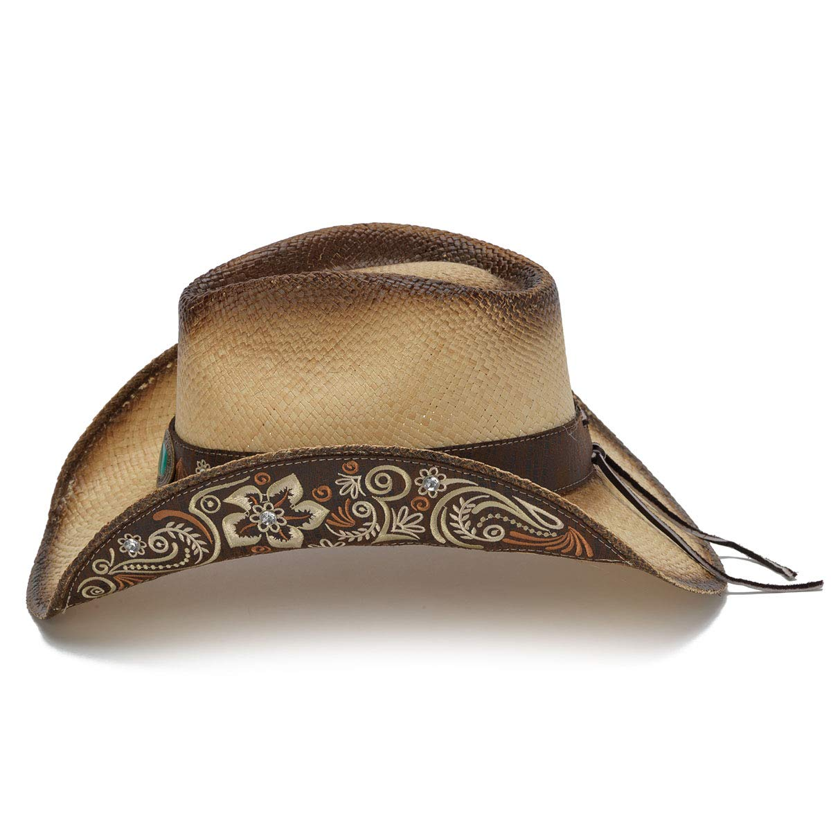 Stampede Hats Women's Sky Action Floral Embroidered Western Hat S Tea Stain by Stampede Hats (Image #3)