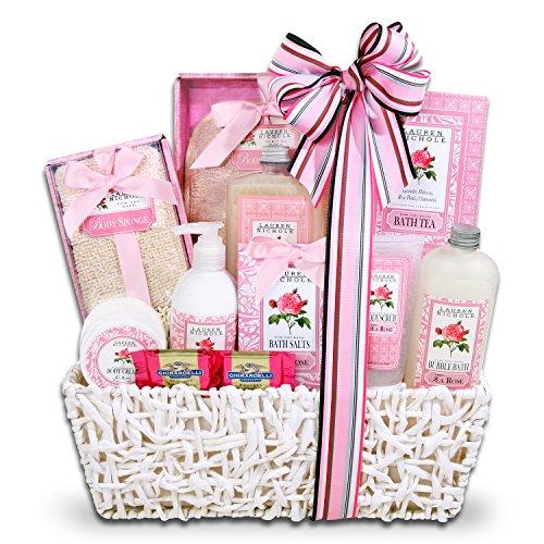 Lauren Nichole Tea Rose Spa Gift Basket for Women