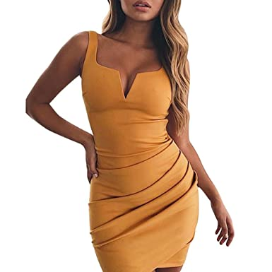 Minisoya Women Summer Off Shoulder Dress Casual Irregular V Neck Sleeveless Ruched Evening Party Beach Mini Dress at Amazon Womens Clothing store: