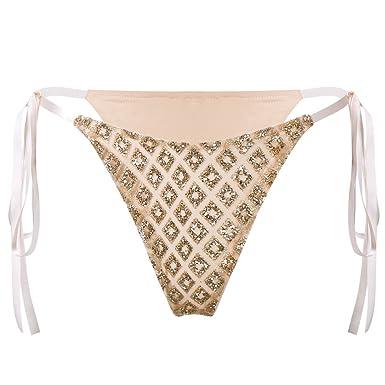 b0b6385d5e Samber Women Sexy Tie-up Lingerie Shiny Sequin Briefs Thong Shorts G-String  Panties See-Through Underwear Knickers Bikini Swimsuit Swimwear  Amazon.co. uk  ...