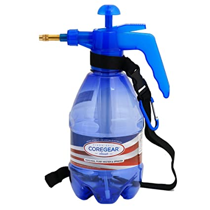 CoreGear USA Misters 1-Liter Pump Mister & Sprayer Bottle with Strap and Bag Clip Blue by COREGEAR zxE4hsHD