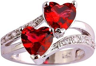 Cfeminin Superbe Bague Zirconium Double Coeurs Cristal Autrichien Rouges