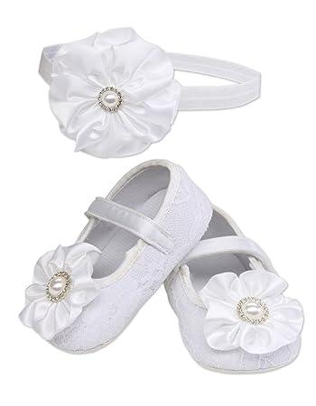 White Baby Girl Christening Baptism Shoes and Headband