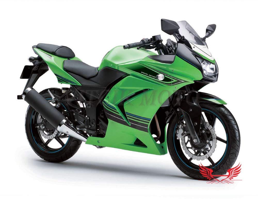 VITCIK (フェアリングキット 対応車種 カワサキ Kawasaki EX250R Ninja 250 EX-250R ZX250 2008 2009 2010 2011 2012) プラスチックABS射出成型 完全なオートバイ車体 アフターマーケット車体フレーム 外装パーツセット(グリーン & ブラック) A022   B071SDQCGB