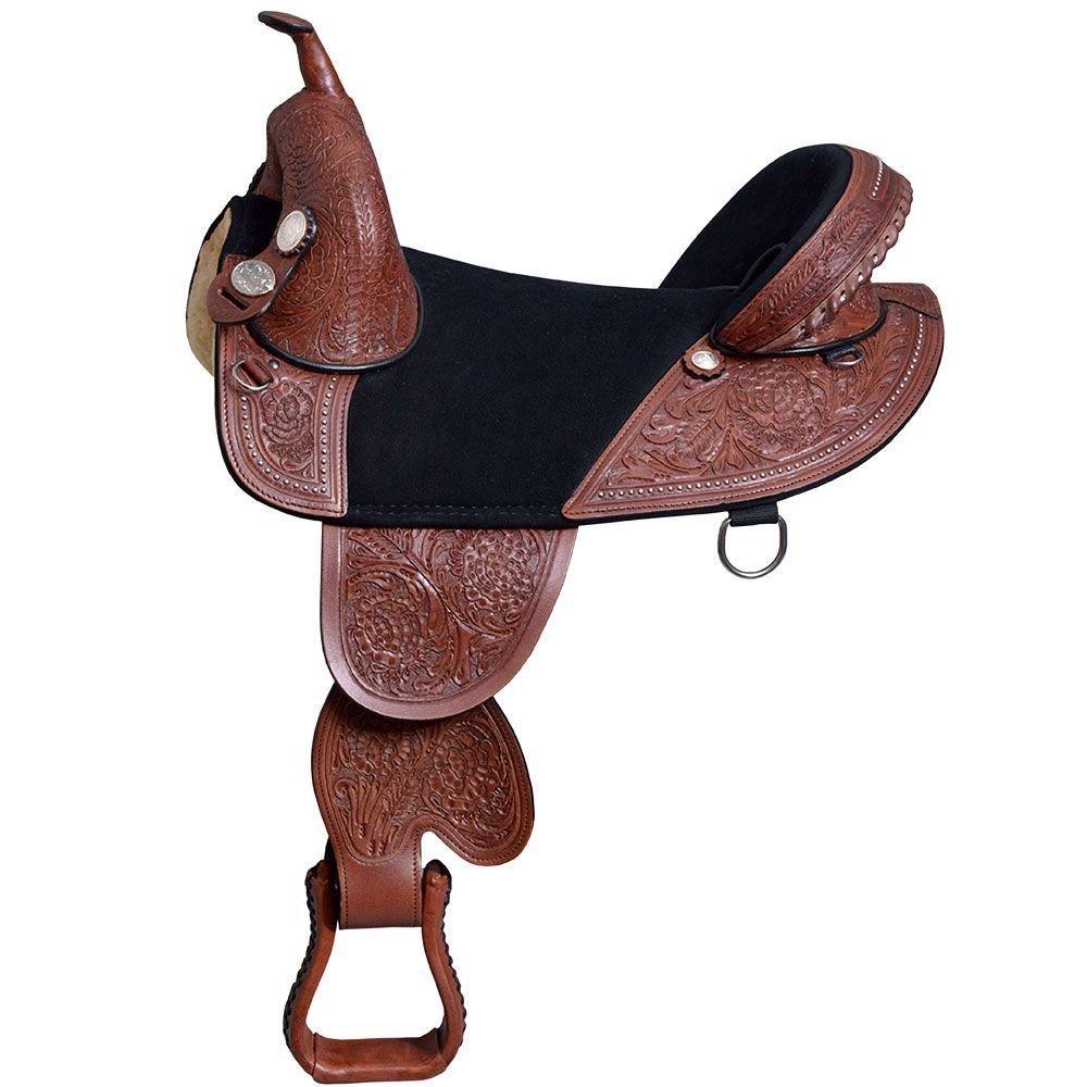 Manaal Enterprises WesternプレミアムレザーTreeless HorseサドルTack size- 14