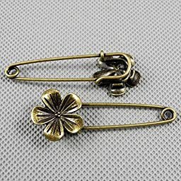 50 PCS Jewelry Making Charms Findings Supply Supplies Crafting Lots Bulk Wholesale Antique Bronze Tone Plated 05917 Flower Safety Pins Brooch